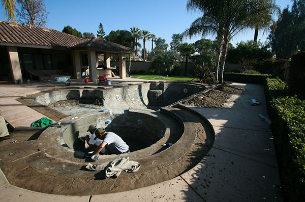 Pool during a Paradise Pools and Spas remodeling Facelift.