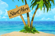 Start Here wooden sign on Tropical Paradise Island