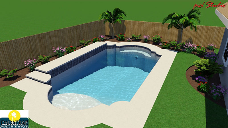 Paradise grecian swimming pool with raised deck paradise for Pool design standards