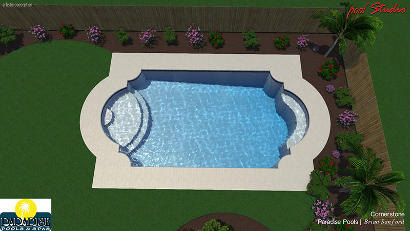 Paradise grecian swimming pool paradise pools and spas for Grecian pool dimensions