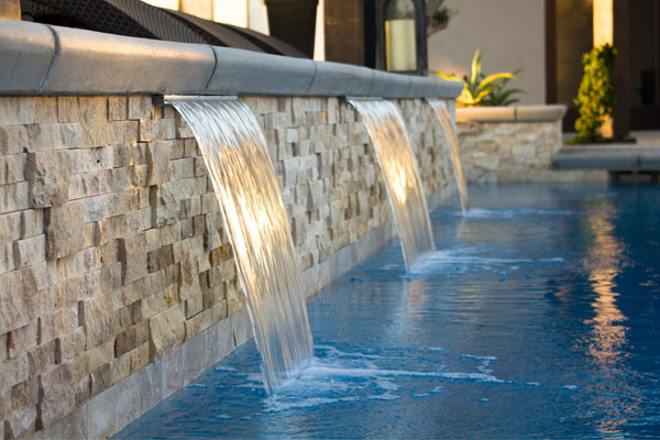 Water Features Three Sheer Descents Pour Into A Beautiful Bakersfield Pool