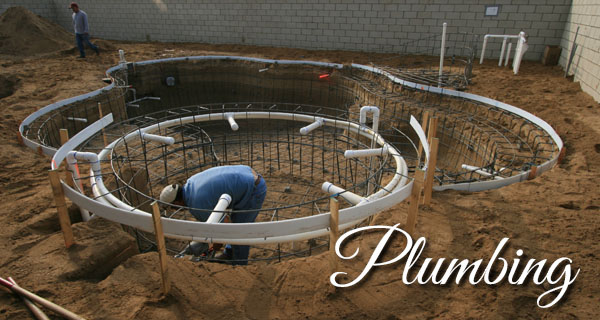 The Plumbing of a Paradise Pool and Spas pool.