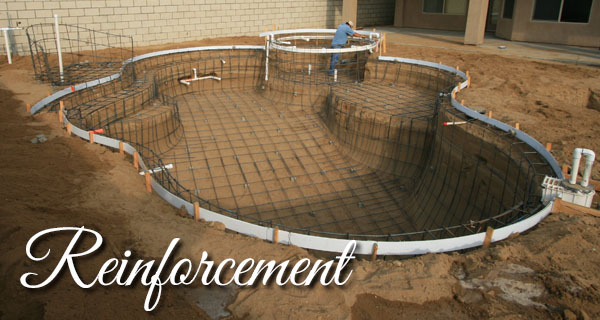 Re-rod forms the skeleton of a pool.