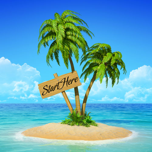 """Paradise Island with a sign that reads """"Start Here."""""""