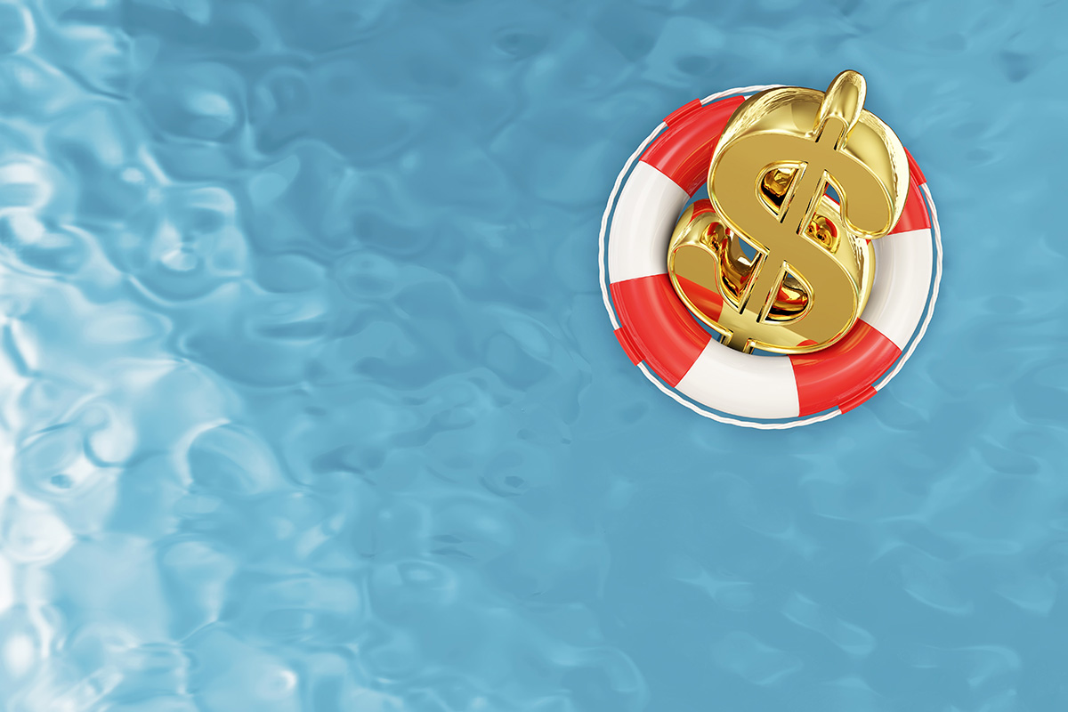 Gold dollar sign floating on lifebelt in swimming pool. Financing your Paradise Pools Bakersfield Swimming Pool.