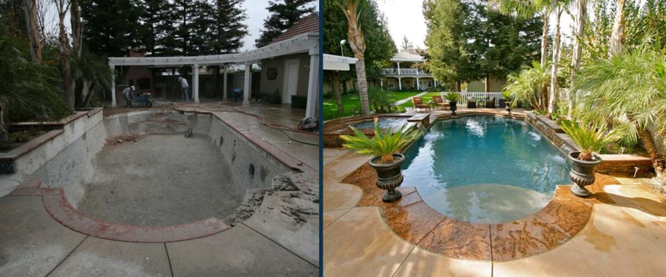Before and After Shot - Pool transformed into a backyard oasis.