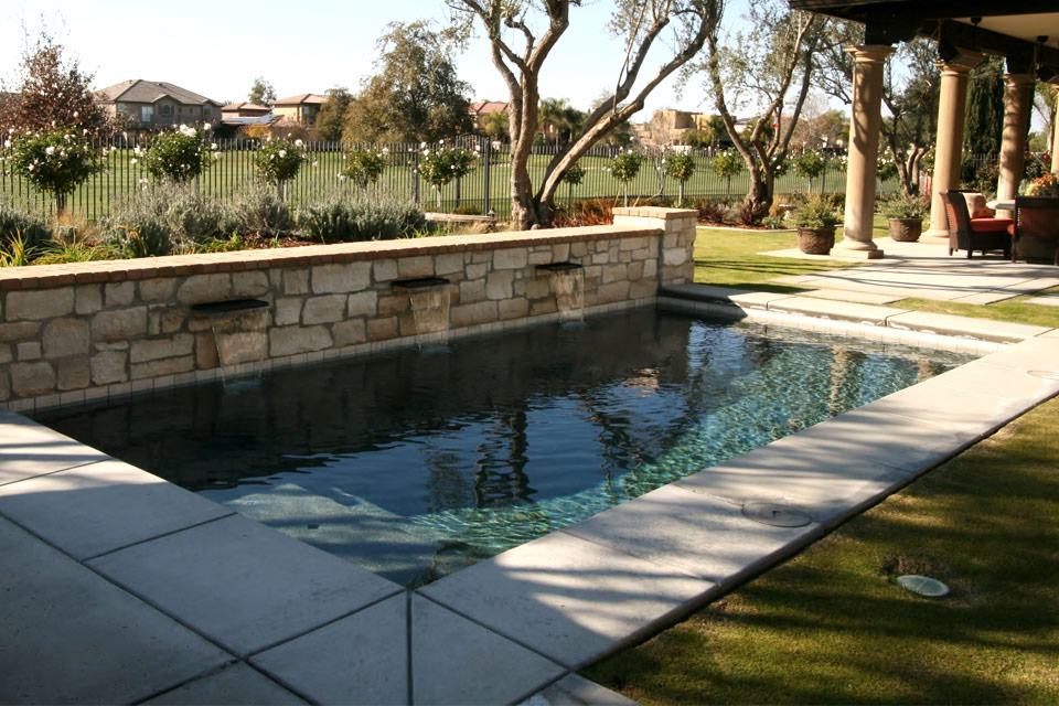 Small Geometric swimming pool on a Bakersfield golf course.