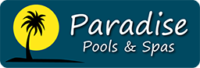 Paradise Pools & Spas, Bakersfield Logo. Palm Tree in front of setting sun.