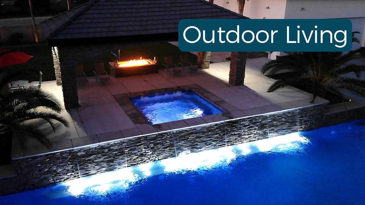 Outdoor living spaces by Bakersfield's Paradise Pools & Spas.