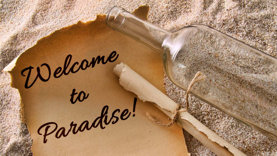 Message in a bottle, welcome letter from Paradise Pools & Spas, Bakersfield.