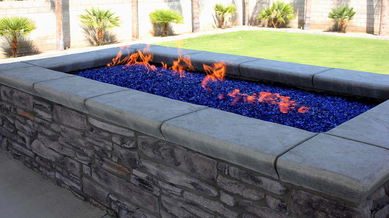 Fire Feature by a custom spa.